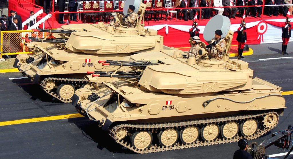 Military vehicles take part at the Civic-Military Parade to commemorate the 194th anniversary of Peru's Independence in Lima city, capital of Peru, on July 29, 2015. ...