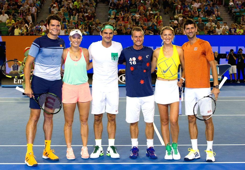 Milos Raonic of Canada, Caroline Wozniacki of Denmark, Roger Federer of Switzerland, Lleyton Hewitt of Australia, Victoria Azarenka of Belarus and Novak Djokovic ...
