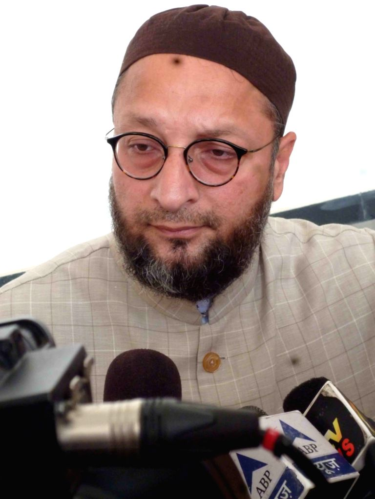 MIM chief Asaduddin Owaisi addresses a press conference in Hyderabad on Sept 28, 2016.