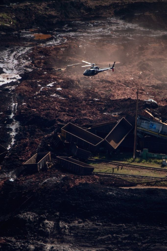 MINAS GERAIS (BRAZIL), Jan. 25, 2019 (Xinhua) -- A building is seen destroyed after the collapse of a dam in Brumadinho Municipality in the southeastern state of Minas Gerais, Brazil, on Jan. 25, 2019. About 200 people were missing after a tailings d