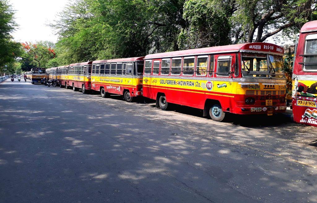 Mini bus parked at deserted look roadside during the lockdown on coronavirus pandemic    in Kolkata on Saturday 06 June, 2021.