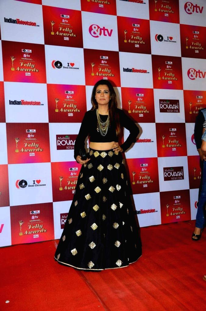 Mini Mathur during the 14th Indian Telly Awards in Mumbai, on Nov 28, 2015.
