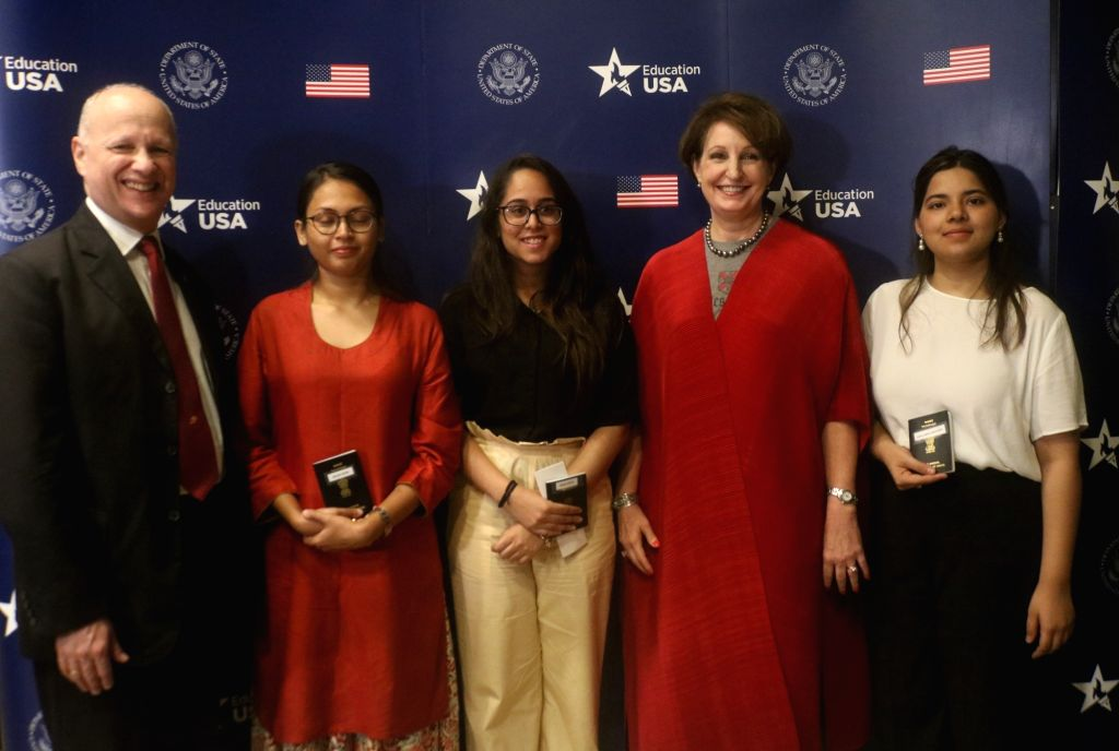 Minister Counsellor at the American Embassy in India Joseph Pomper and Charge d'Affaires of the US Embassy in New Delhi, MaryKay Carlson with student visa applicants during a programme ... - Counsellor