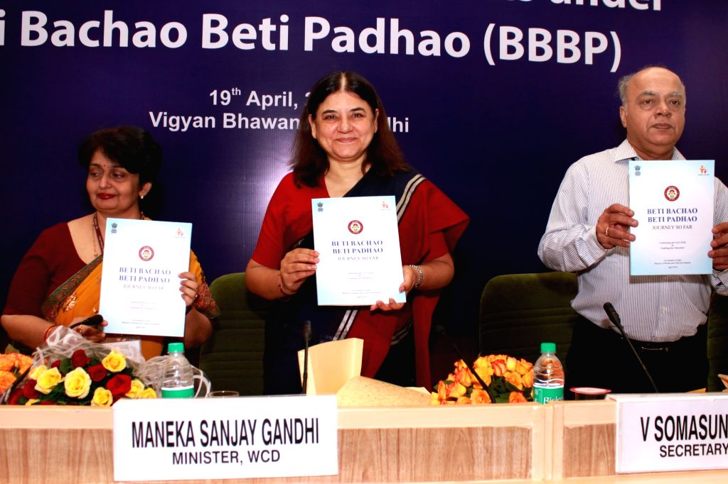 Minister for Women & Child Development, Maneka Sanjay Gandhi at the launch of `Beti Bachao, Beti Padhao` scheme in additional 61 districts,in New Delhi on April 19,2016. - Maneka Sanjay Gandhi