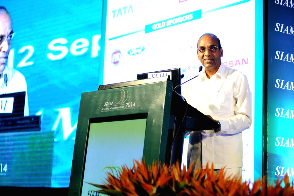 Minister of Heavy Industries and Public Sector Enterprises Anant Geete addresses at the 54th SIAM Annual Convention in New Delhi on Sept 12, 2014.