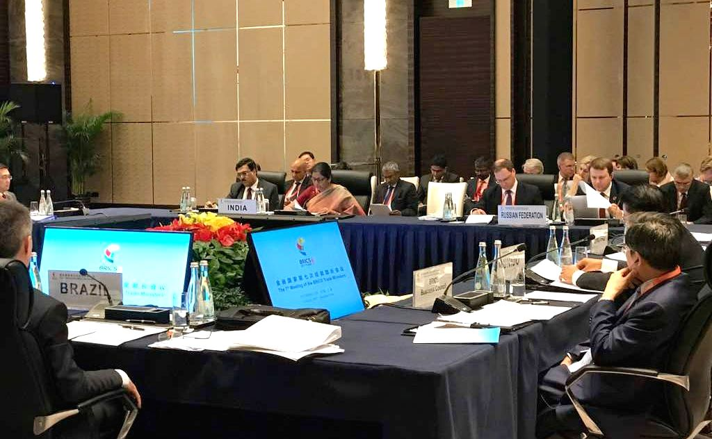 Minister of State for Commerce and Industry (Independent Charge), Nirmala Sitharaman with the delegation at the BRICS Trade Ministers Meeting, in Shanghai, China on August 01, 2017. - Meeting