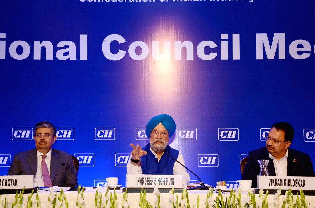 Minister of State for Commerce and Industry Hardeep Singh Puri addresses the National Council Meeting of Confederation of Indian Industry (CII), in New Delhi on June 14, 2019. - Hardeep Singh Puri