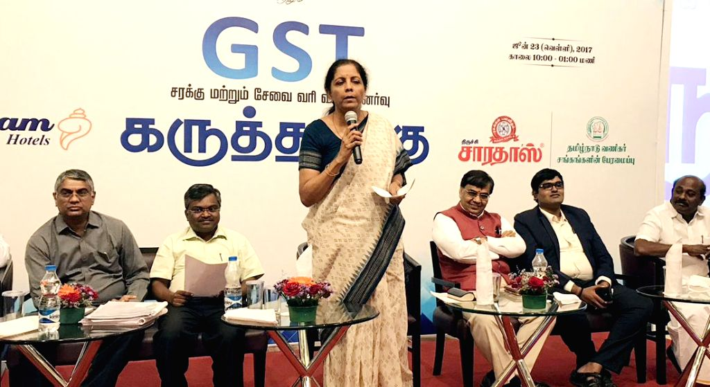 Minister of State for Commerce & Industry (Independent Charge) Nirmala Sitharaman along with CBEC officials participated in an interactive session on GST for Traders, CAs & ...