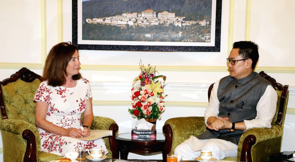 Minister of State for Countering Extremism and Minister for Equalities, United Kingdom Baroness Williams of Trafford meets Union MoS Home Affairs Kiren Rijiju, in New Delhi on June 11, ...
