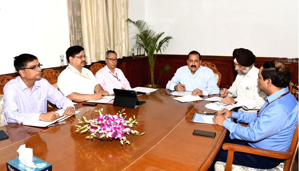Minister of State for Development of North Eastern Region (I/C) Jitendra Singh chairs a review meeting with the officials of Ministry of Development of North Eastern Region (DoNER) and ... - Jitendra Singh and Inderjit Singh