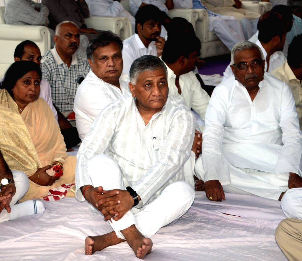 Minister of State for External Affairs General (Retd.) V K Singh during a programme organised to pay tribute to Ghaziabad mayor Teluram Kamboj on Aug 16, 2015. Teluram died on August 9, ...