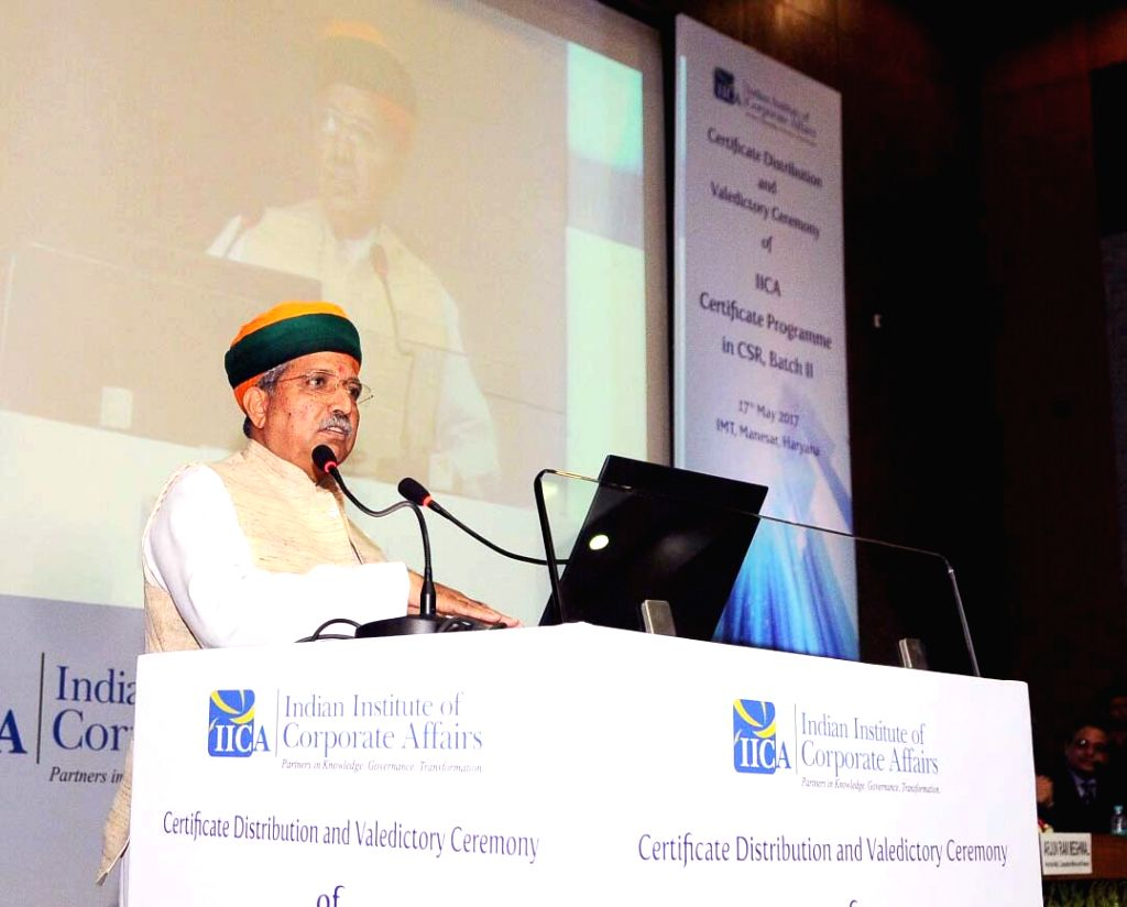 Minister of State for Finance and Corporate Affairs Arjun Ram Meghwal addresses at the Certificate Distribution and Valedictory Ceremony of IICA Certificate Programme (ICP) in Corporate ...