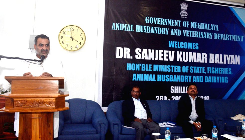 Minister of State for Fisheries, Animal Husbandry and Dairying, Sanjeev Kumar Balyan addresses at an interactive session with the piggery and dairy farmers and with the officials of the ... - Sanjeev Kumar Balyan
