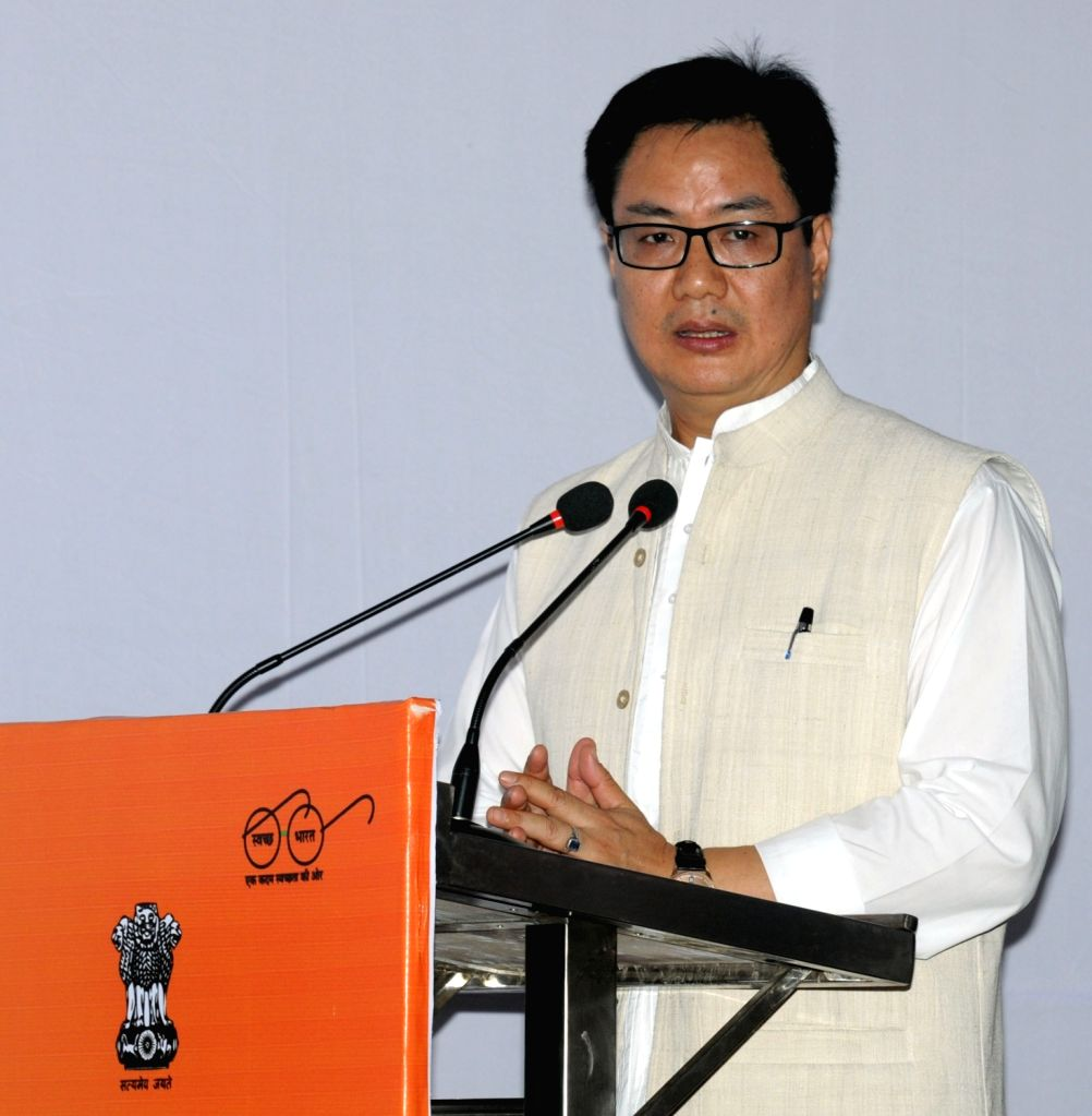 Minister of State for Home Affairs Kiren Rijiju addressing at the inauguration of the Social Infrastructure (Local shopping complex, Banquet Hall, Senior Secondary School) under East ...