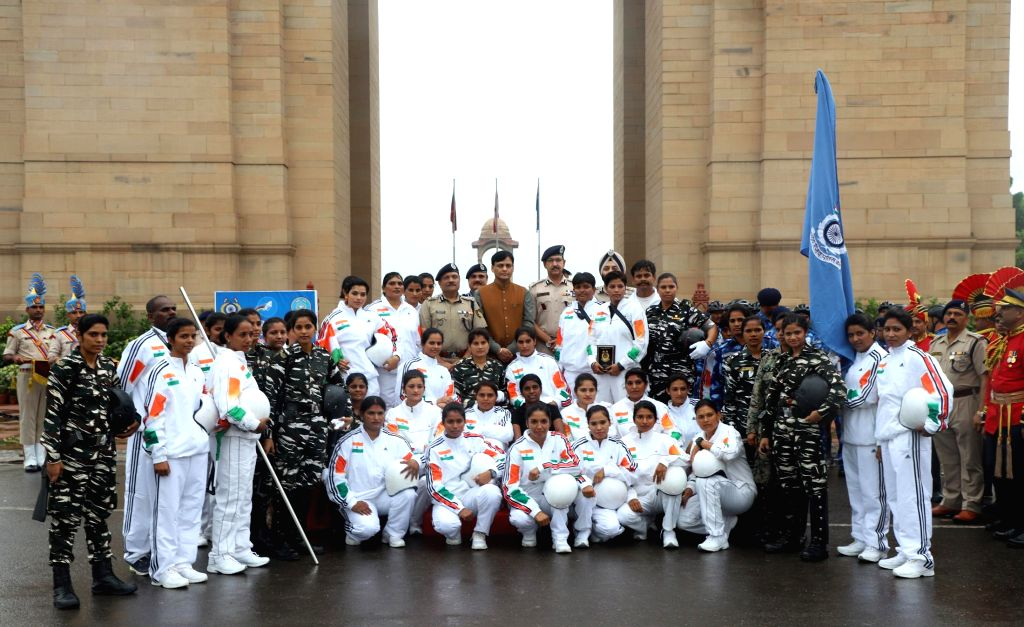 Minister of State for Home Affairs, Nityanand Rai with the ?Women Daredevils? group of the CRPF, at the 81st Raising Day of the Force at India Gate, in New Delhi on July 27 2019. - Nityanand Rai
