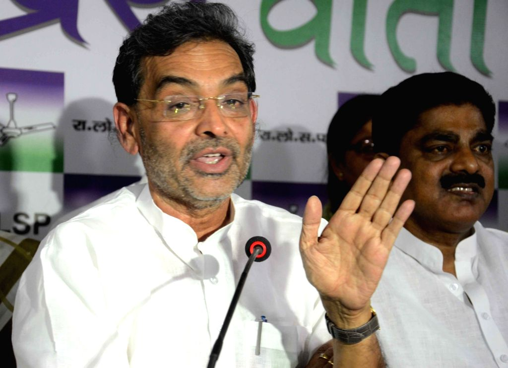 Minister of State for HRD Upendra Kushwaha addresses a press conference in Patna on June 5, 2017.
