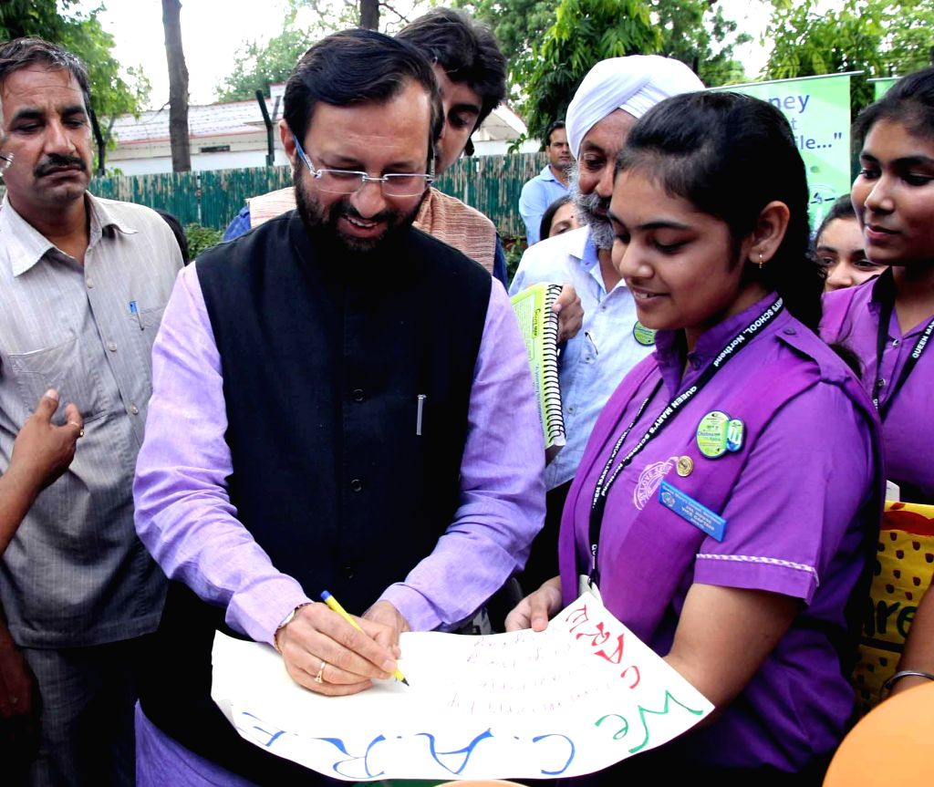 Minister of State for Information and Broadcasting (Independent Charge), Environment, Forest and Climate Change (Independent Charge) and Parliamentary Affairs Prakash Javadekar during a programme ...