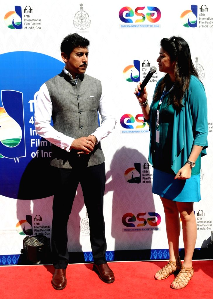 Minister of State for Information & Broadcasting, Col. Rajyavardhan Singh Rathore at the Red Carpet, during the 47th International Film Festival of India (IFFI-2016), in Panaji on Nov 28, ... - Rajyavardhan Singh Rathore