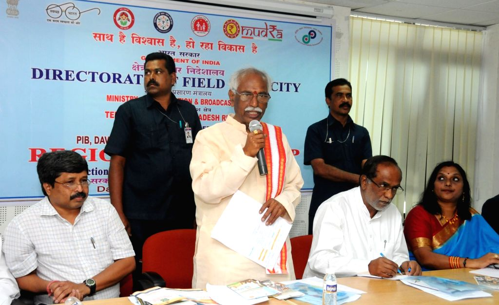 Minister of State for Labour and Employment (Independent Charge) Bandaru Dattatreya addresses at the inauguration of the Regional Workshop on 'Government of India Welfare Schemes' ...