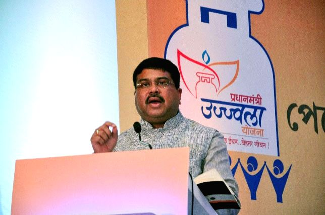 Minister of State for Petroleum and Natural Gas (Independent Charge) Dharmendra Pradhan addresses at a meeting of the District Nodal Officers (DNO) of Eastern and North-Eastern states for ...