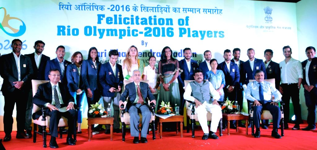 Minister of State for Petroleum and Natural Gas (Independent Charge) Dharmendra Pradhan at the felicitation programme of the Olympians/Participants of the Rio Olympic-2016 in New Delhi on ...