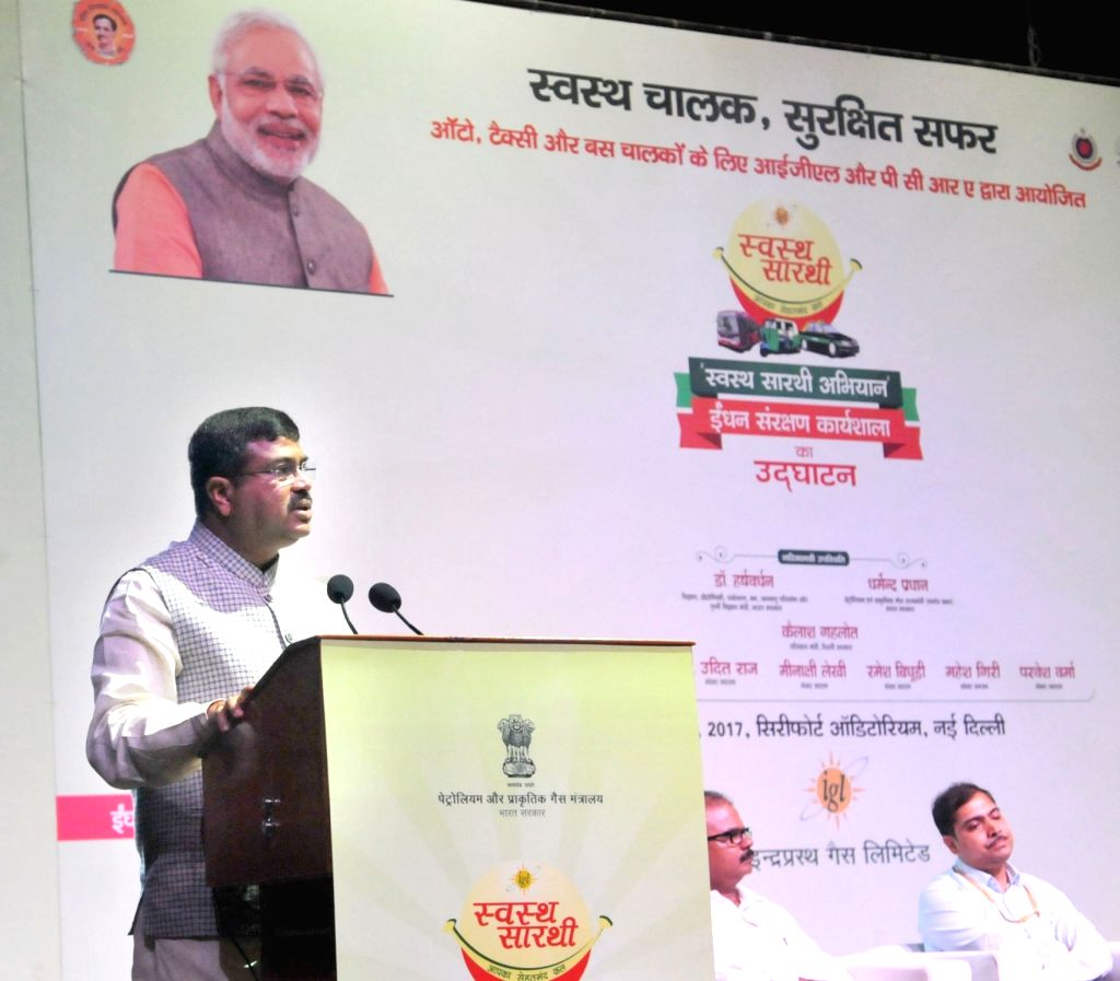 """Minister of State for Petroleum and Natural Gas (Independent Charge) Dharmendra Pradhan addresses at the launch of the """"Swasth Saarthi Abhiyan and Fuel Conservation Workshop"""" in ..."""