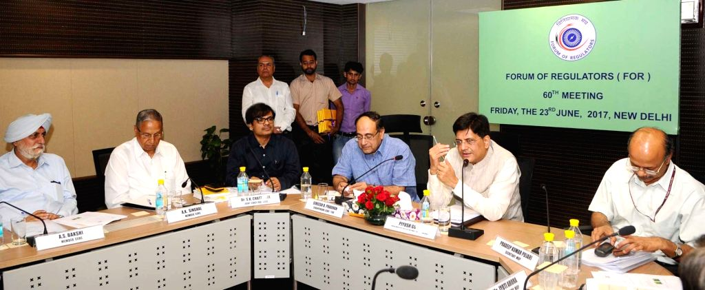 Minister of State for Power, Coal, New and Renewable Energy and Mines (Independent Charge) Piyush Goyal addresses at the meeting of the Forum of Regulators in New Delhi on June 23, 2017. ...