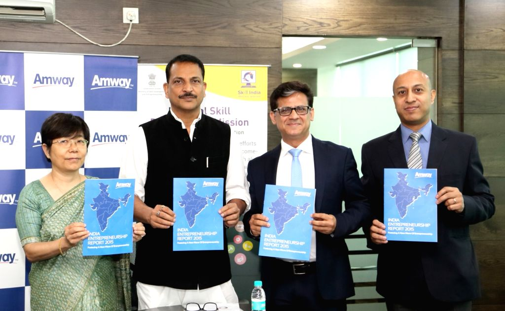 Minister of State for Skill Development and Entrepreneurship Rajiv Pratap Rudy, Amway India CEO Anshu Budhraja and Amway India Vice President Rajat Banerji at the launch of Amway India ...