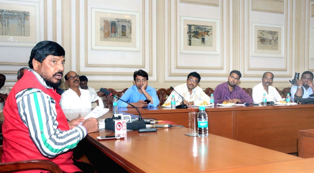 Minister of State for Social Justice & Empowerment Ramdas Athawale addresses the media on reserve quota backlog in corporations and corporate service sector in Mumbai on May 6, 2017.