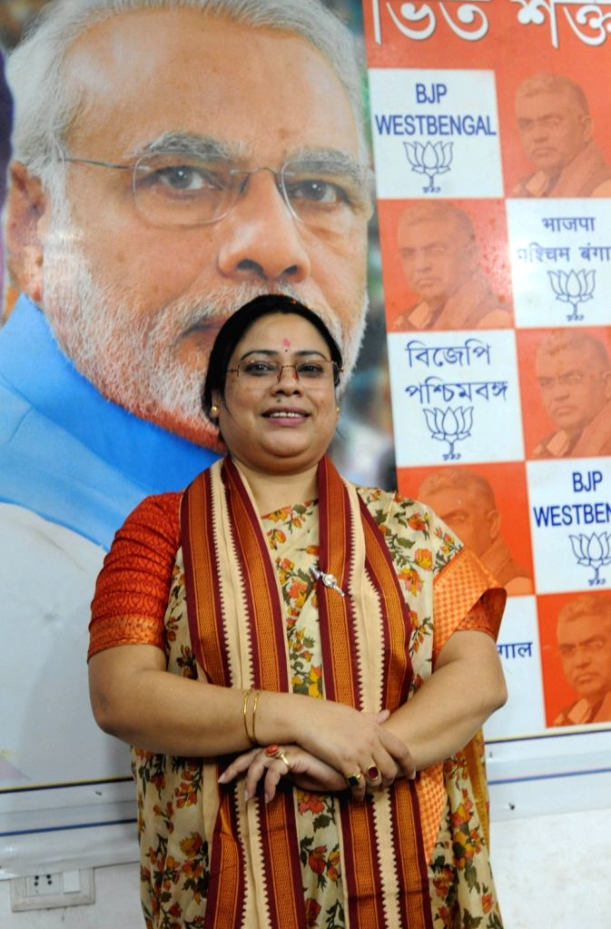 Minister of State for Women and Child Development Debasree Chaudhuri at a press conference at the West Bengal BJP headquarter in Kolkata, on June 1, 2019.