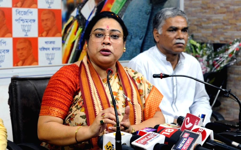 Minister of State for Women and Child Development Debasree Chaudhuri addresses a press conference at the West Bengal BJP headquarter in Kolkata, on June 1, 2019.
