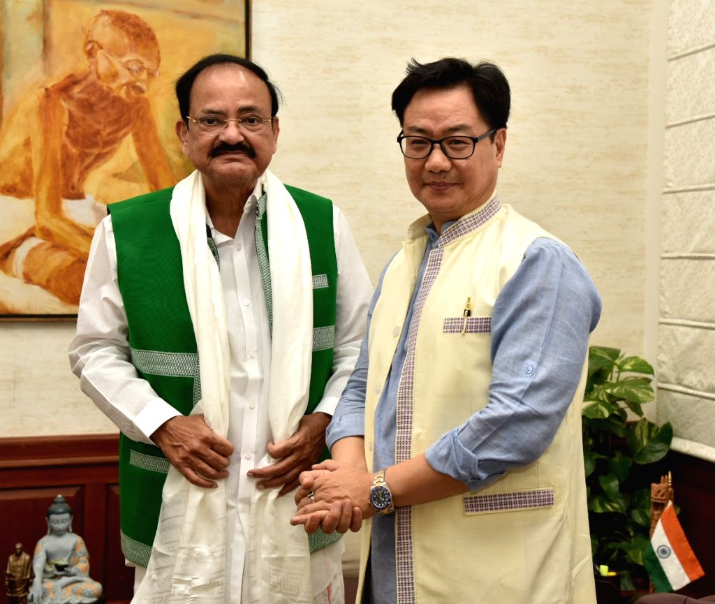 Minister of State for Youth Affairs and Sports (Independent Charge) and Minority Affairs Kiren Rijiju calls on Vice President M. Venkaiah Naidu, in New Delhi on June 10, 2019. - M. Venkaiah Naidu