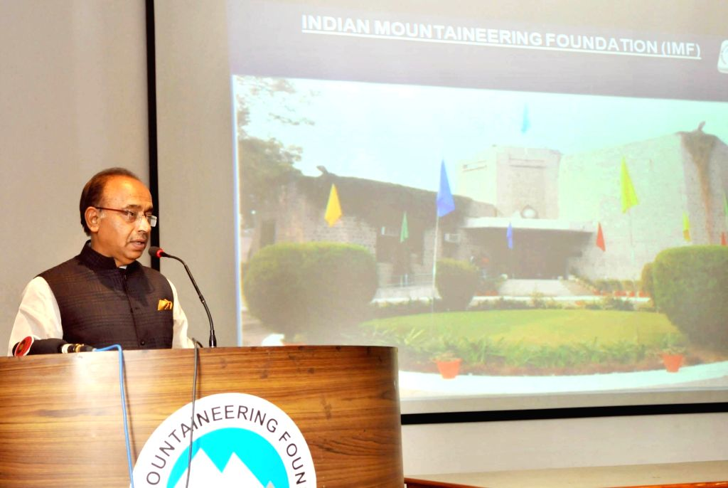 Minister of State for Youth Affairs and Sports (I/C), Water Resources, River Development and Ganga Rejuvenation Vijay Goel addresses at the flag-off ceremony of a team of Mountaineers for ...