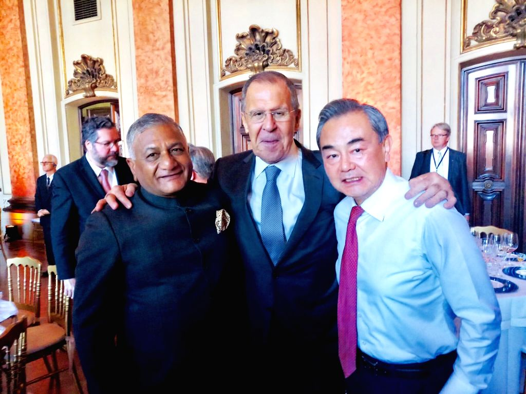 Minister of State Gen V.K. Singh with Russian Foreign Minister Sergei Lavrov and Chinese State Councilor and Foreign Minster Wang Yi at BRICS foreign ministers meet in Brazil. - Sergei Lavrov and K. Singh