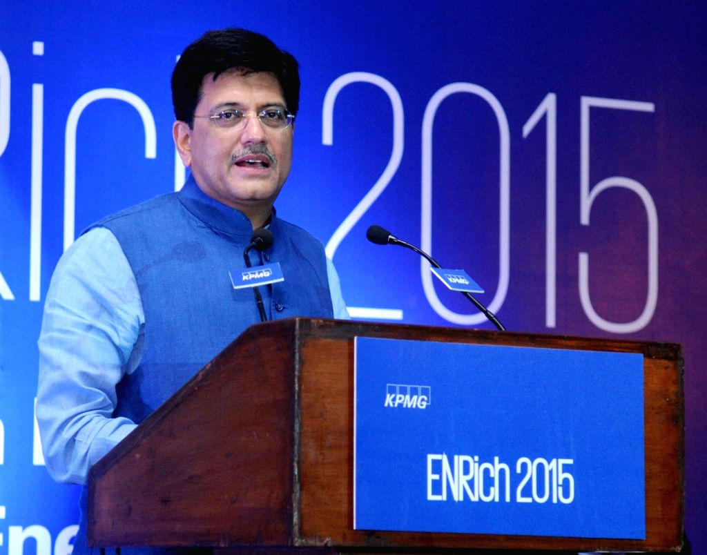 Minister of State (Independent Charge) for Power, Coal and New and Renewable Energy, Piyush Goyal addresses at the Enrich 2015 - KPMG in India`s Annual Energy Conclave, in New Delhi on ...