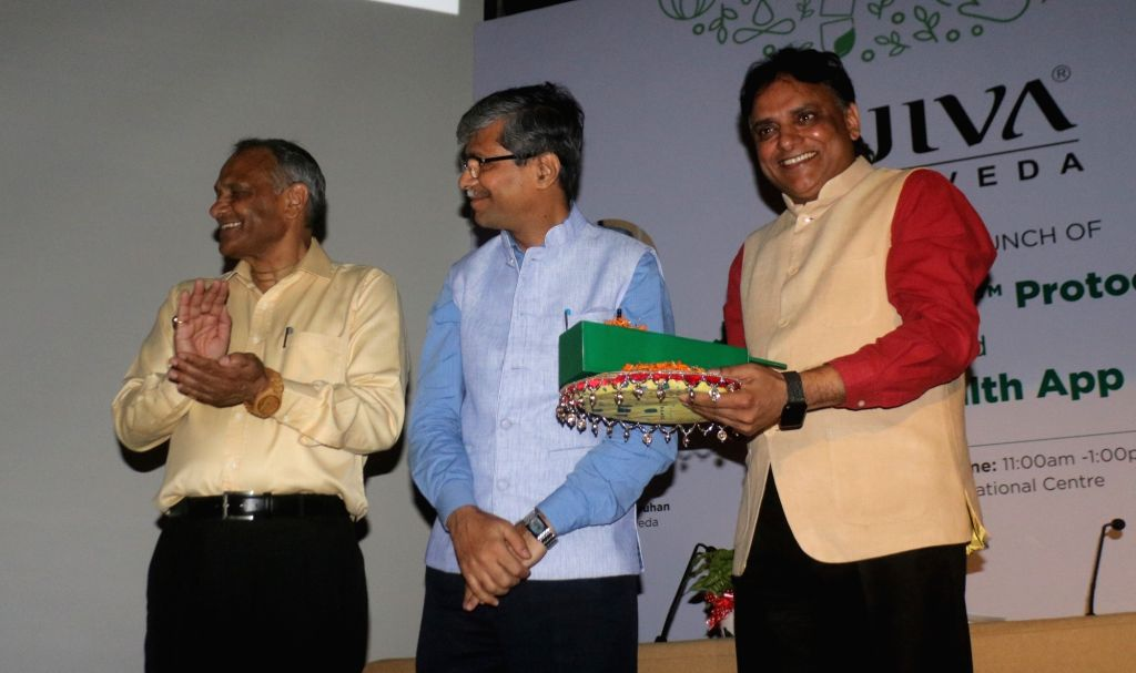 Ministry of AYUSH Secretary Vaidya Rajesh Kotecha and Jiva Ayurveda Director Partap Chauhan at the launch of Jiva health application and Jiva Ayunique protocol, in New Delhi on July 16, ... - Partap Chauhan