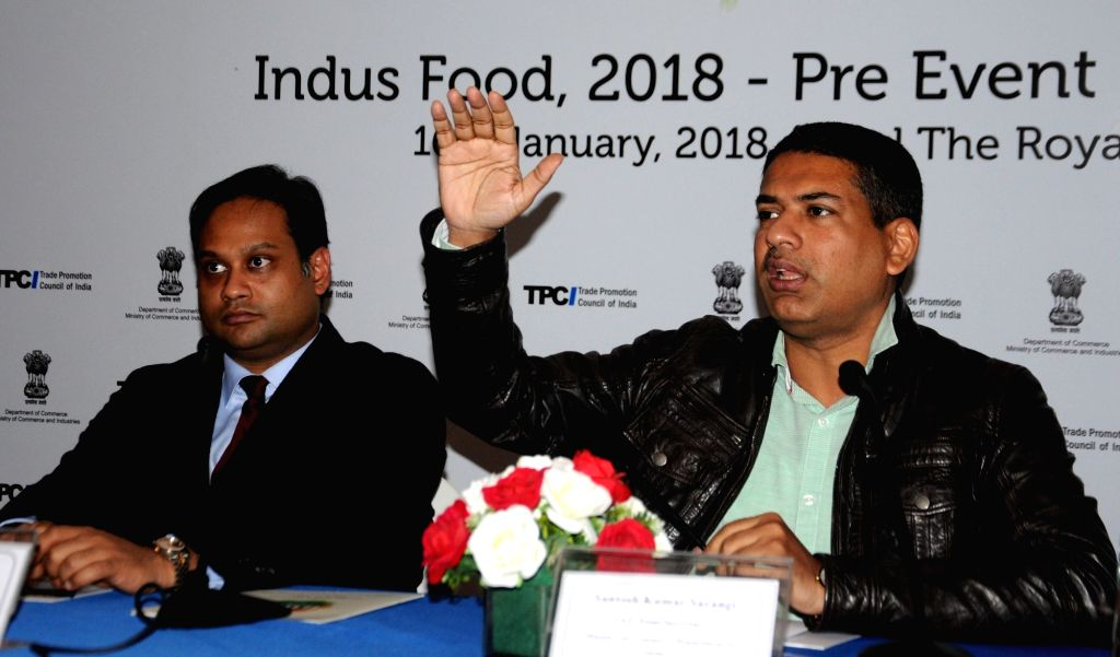 Ministry of commerce & Industry Joint Secretary Santosh Kumar Sarangi (L) at a press conference to announce 'Indus Food' - a mega international food and beverage trade show to be held ...