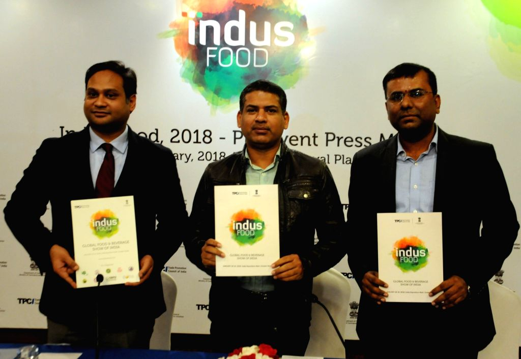 Ministry of commerce & Industry Joint Secretary Santosh Kumar Sarangi (C), Trade Promotion Council of India (TPCI) Chairman of Mohit Singla, N Ramesh at a press conference to announce ...