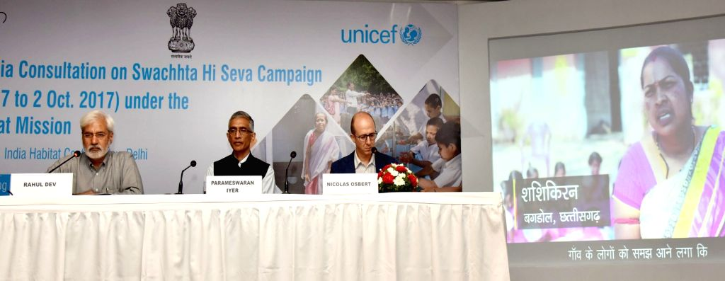 Ministry of Drinking Water and Sanitation Secretary Parameswaran Iyer,  Chief of WASH (Water, Sanitation & Hygiene), UNICEF Nicolas Osbert and Senior Journalist Rahul Dev at the ... - Journalist Rahul Dev