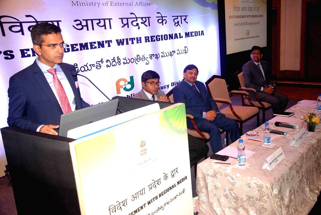 Ministry of External Affairs (MEA) official spokesperson and Joint Secretary Raveesh Kumar addresses at the launch of  of MEA's initiative - 'Videsh Aaya Pradesh ke Dwaar', in Hyderabad on ... - Secretary Raveesh Kumar