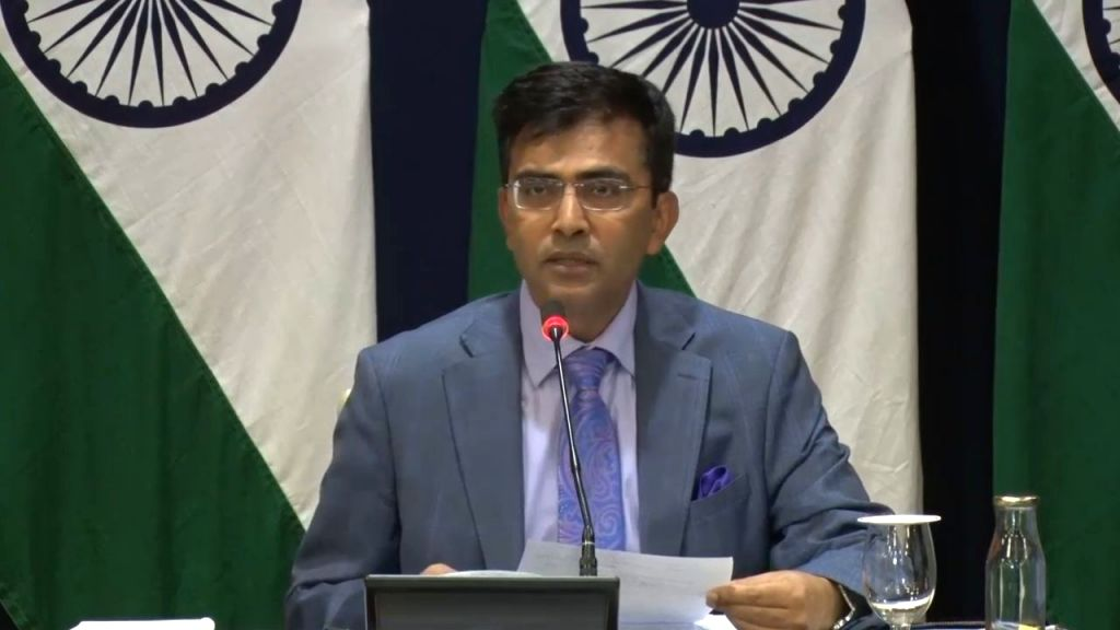 Ministry of External Affairs Official Spokesperson Ravesh Kumar addresses a press conference, in New Delhi on Feb 6, 2020.