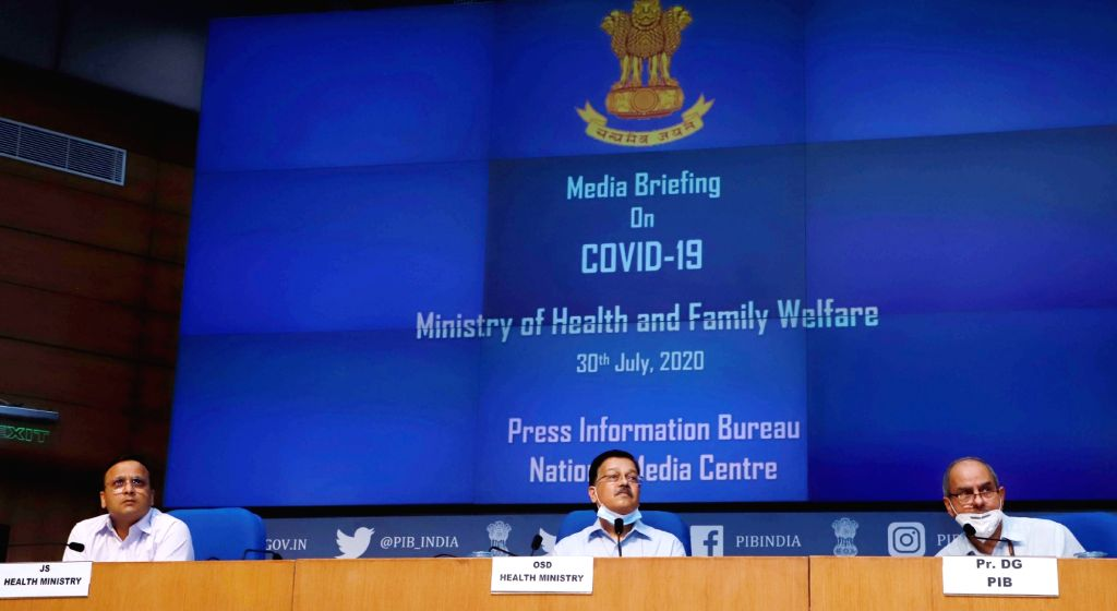 Ministry of Health and Family Welfare Officer on Special Duty Rajesh Bhushan addresses a press conference on the actions taken, preparedness and updates on COVID-19, in New Delhi on July ...