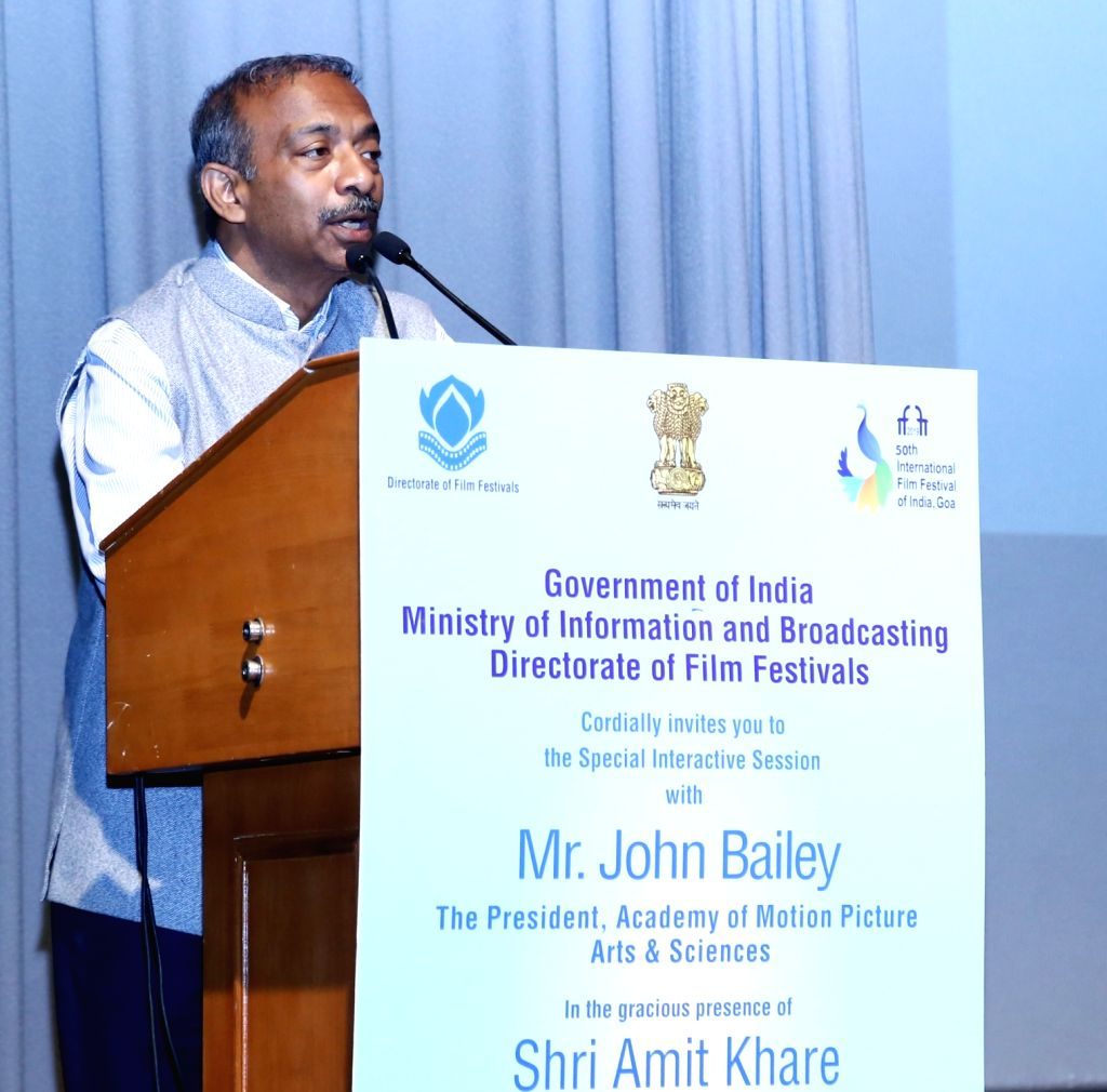 Ministry of Information and Broadcasting (I&B) Secretary Amit Khare addresses during a Special Interactive Session organised by the I&B Ministry, in New Delhi on May 28, 2019.