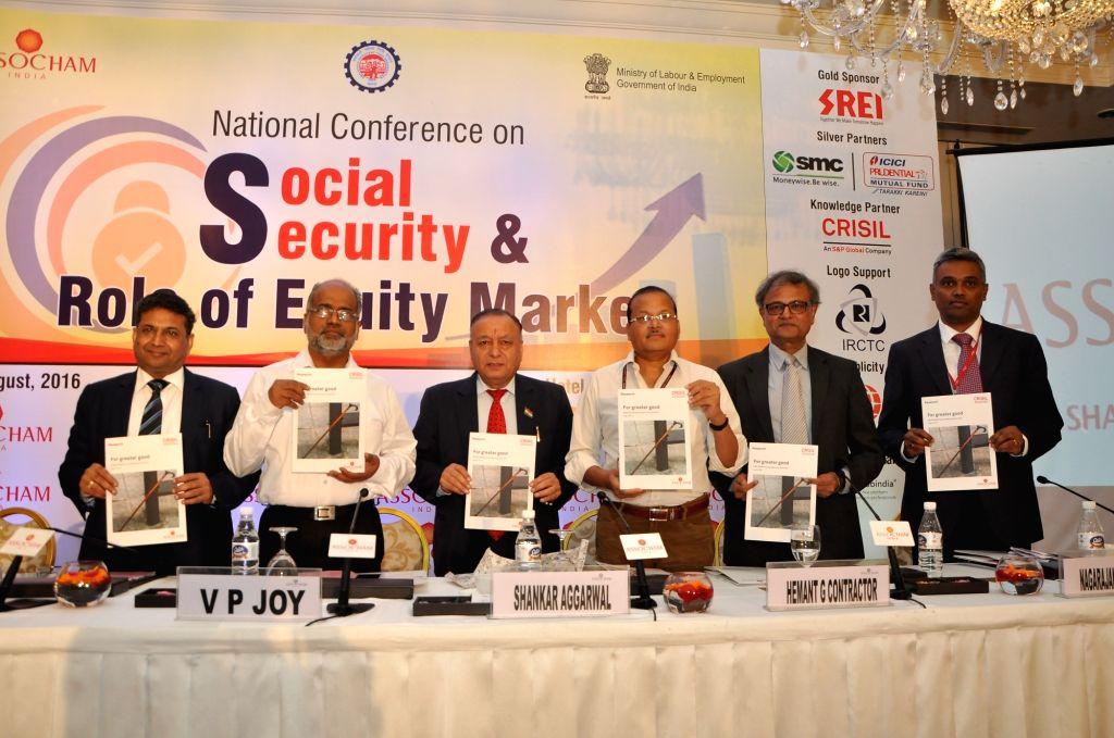 Ministry of Labour and Employment Secretary Shankar Aggarwal along with SMC Global Securities CMD S.C. Aggarwal, Central Provident Fund Commissioner Dr V.P. Joy, ASSOCHAM Secretary General ...