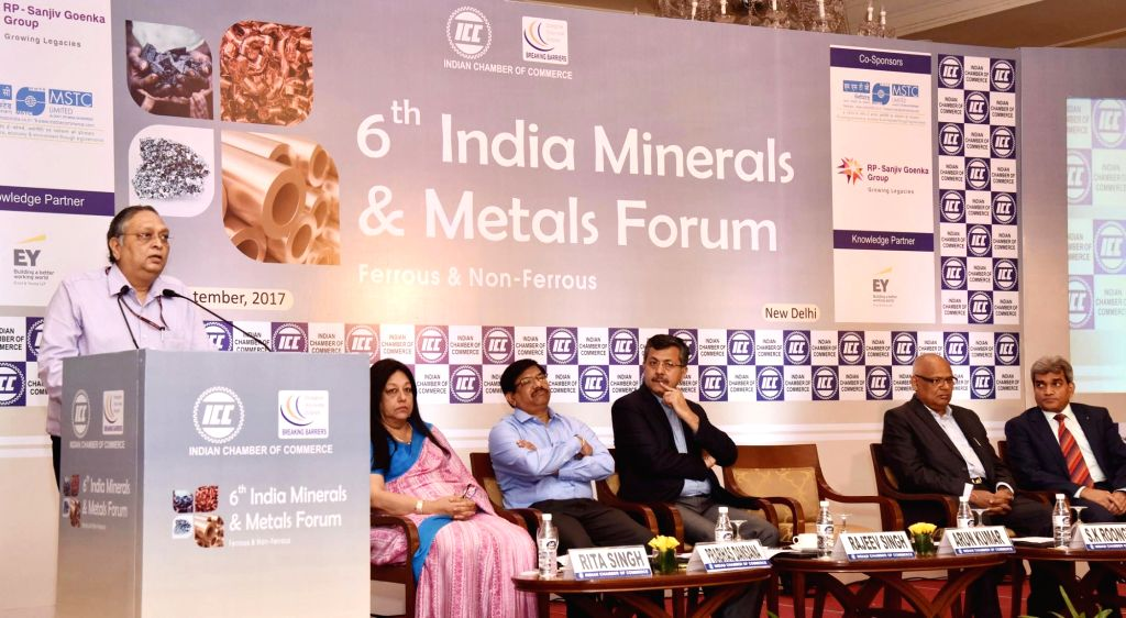 Ministry of Mines Secretary Arun Kumar addresses at the 6th India Minerals and Metals Forum-Ferrous and Non-Ferrous organised by the Indian Chamber of Commerce (ICC) in New Delhi on Sept ... - Secretary Arun Kumar