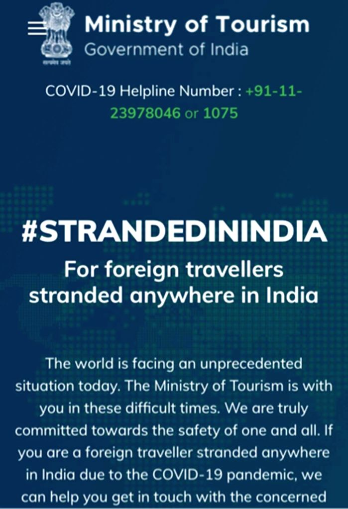 Ministry of Tourism launches ???Stranded in India??? portal.