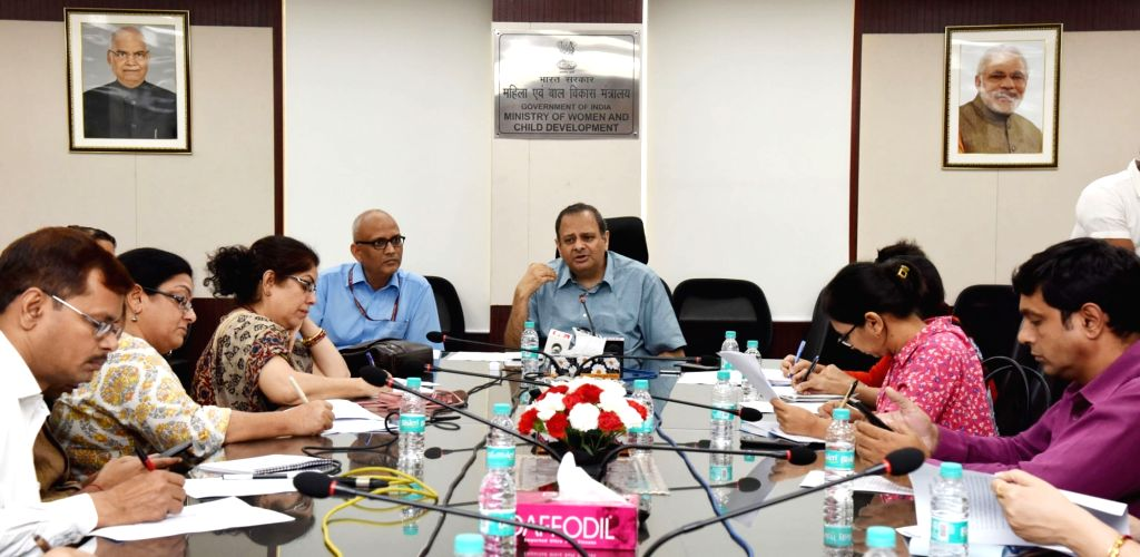 "Ministry of Women and Child Development Secretary Rakesh Srivastava holds a curtain raiser briefing on National Conference on ""Mission Mode to address malnutrition"" in New Delhi on ..."