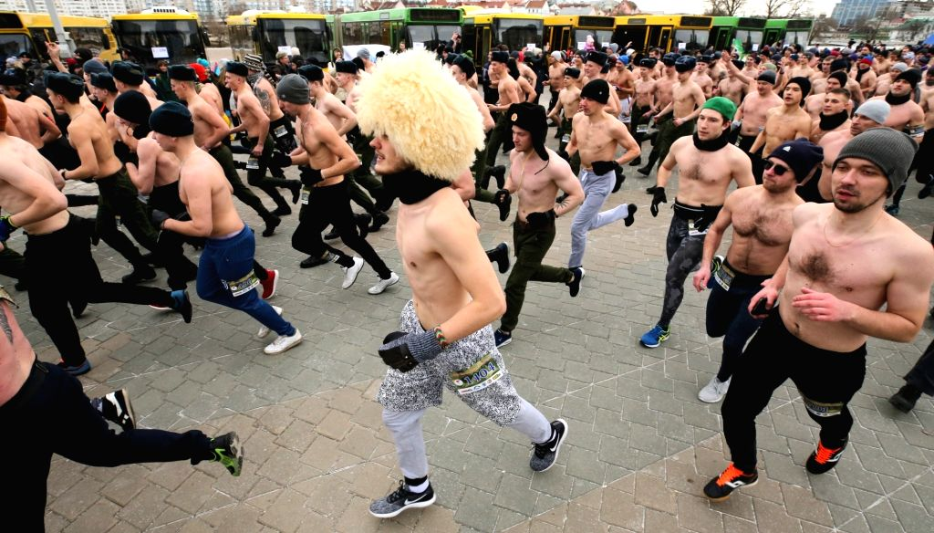 "MINSK, Feb. 23, 2019 - Runners take part in the ""Real Man Race"" to celebrate the Defender of the Fatherland Day in Minsk, Belarus, on Feb. 23, 2019."