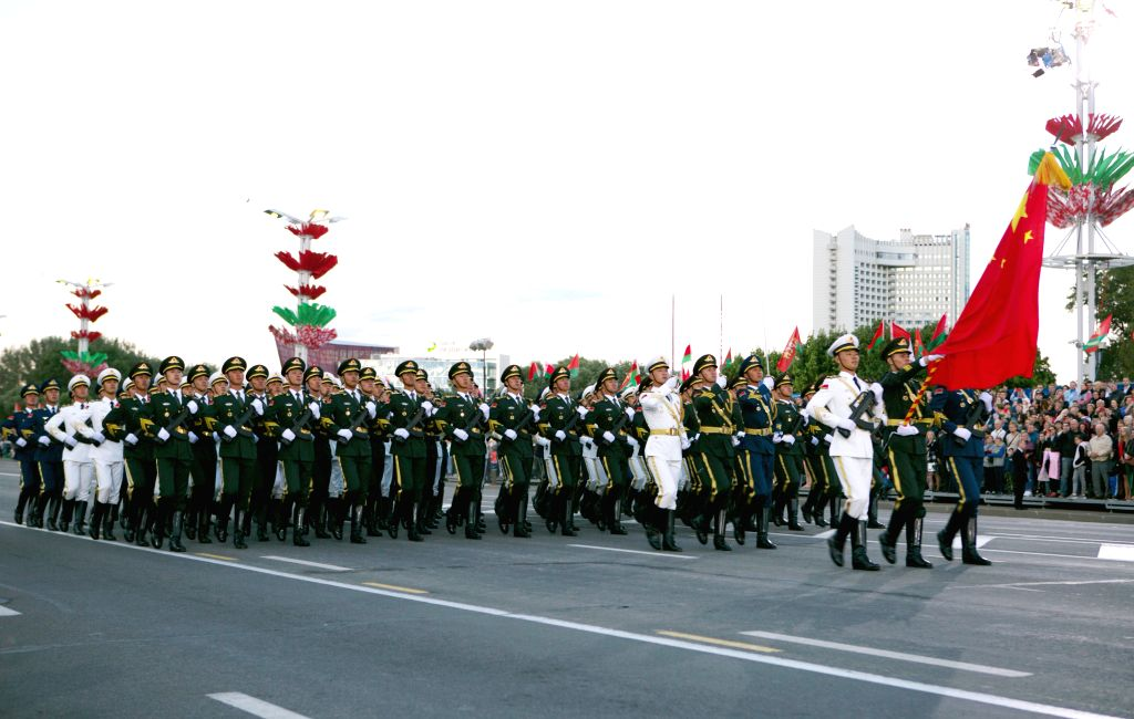 MINSK, July 4, 2019 (Xinhua) -- The Guard of Honor of the Chinese People's Liberation Army (PLA) march during the Belarus Independence Day military parade in Minsk, Belarus, July 3, 2019. Belarus Independence Day military parade was held in Minsk Wed