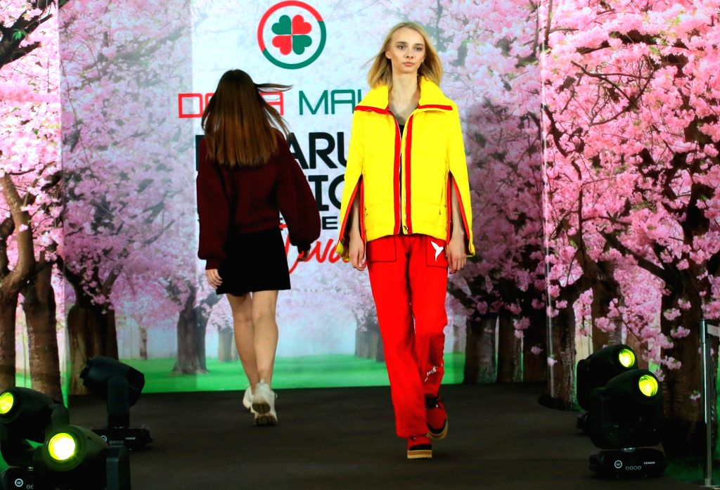 MINSK, March 5, 2019 - Models present creations during a show at Belarus Fashion Week in Minsk, Belarus, March 4, 2019.